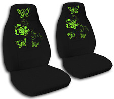 SPECIAL SET* black car seat covers w/green butterflies