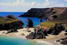 """Beach By Cliff Side Cornwall Canvas Picture 20""""X40"""" Kyannce Cove Wall Art Print"""