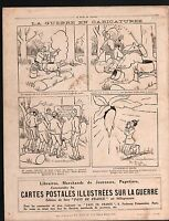 WWI Caricature Poilus Cuisine Guerre/Map Germany Russia Poland 1914 ILLUSTRATION