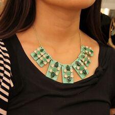 Collar Rectángulo Colgante Verde Cristal Moderno Original Noche Matrimonio KS 2