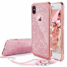 For iPhone X 7 8 Crystal Case Girls Glitter Bling Diamonds Soft Cover  + Lanyard