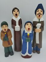 VINTAGE CHRISTMAS HOLIDAY CAROLER CAROLERS FAMILY WOODEN HAND CARVED PAINTED (4)