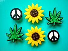 Shoe Charm Accessory Plug Button Marijuana Sun Flower Compatible w/Crocs Holes