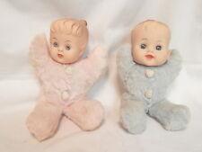 2 Vintage Douglas Cuddle Stuffed Toy Dolls Pink Girl/Blue Boy Cloth/Rubber