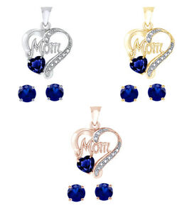 "Heart Blue Sapphire & Diamond 14K Gold Over ""MOM"" Earrings Set Valentine Gifts"