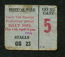 1978 Billy Joel Concert Ticket Stub Brisbane Australia 52nd Street Big Shot