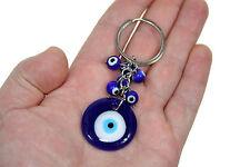 Blue Evil Eye Medallion Key Chain Key Ring Glass Beads Turkish Feng Shui
