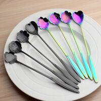 4Pcs/Set Rainbow Flower UNICORN MERMAID Long Handle Tea Spoon STAINLESS STEEL