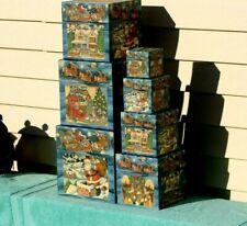 7 Vtg BOB'S BOXES R.A. R A Lang Card Company. Christmas Nesting Boxes