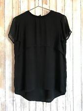 DKNY Black Sheer Tiered Ruffle Layer Short Sleeve Silk Top Blouse M Medium RARE!