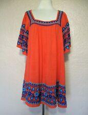 Ivy Jane Mini Dress Tunic Top XL Women orange blue embroidered cotton blend