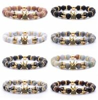 8mm Double Crown King Charm Bracelets Men Women Black Matte Onyx Stone Beads