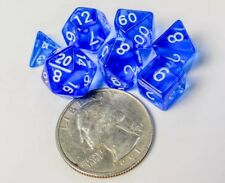 Polyhedral 7 Piece Dice Set Transparent Small 10mm Mini Die Blue And White
