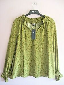 M&S Size 14 - 16 Olive Green Floral Print Split Tie Neck Long Sleeved Top NEW