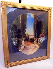 R.Atkinson Fox, Fan, Steps, Lake, Trees, Flowers, Mt's, Framed Fan Print 1920s