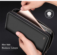 Genuine Leather Wallet Men Clutch Bag Card Coin Purse Zipper Male Long wallets