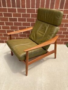 Arne Vodder France And Sons Green Leather Danish Teak Recliner Chair Modern