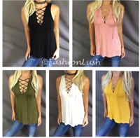 Lace Up Criss Cross Corset Tie Detail Deep VNeck Relaxed Fit Sleeveless Tank Top