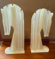 "Set of Art Deco Large Marble Alabaster HORSE Head Bookends 10"" Tall"