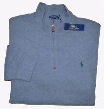 New 3XB 3XL BIG 3X POLO RALPH LAUREN Men Half zip Sweater Grey sweatshirt Jumper