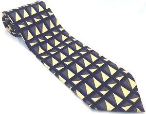 Daniel de Fasson Mens Tie Necktie Tie 100% Silk Geometric Triangles Blue Gold