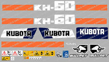 KUBOTA KH60 MINI DIGGER COMPLETE DECAL SET WITH SAFETY WARNING SIGNS
