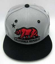 CALIFORNIA REPUBLIC Snapback Cap Hat CALI Bear Flag Gray Black Red Caps Hats