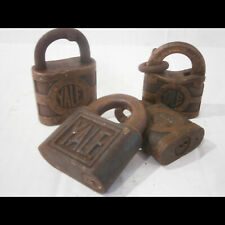 Four Antique YALE Brass Padlocks