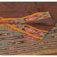 Sanskriti Vintage Saree Woven Patola 5 Yd Sari Craft Fabric Cotton Soft Brown