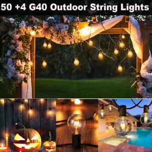 Waterproof Patio Garden Outdoor Festoon String Lights Mains Powered 50 G40 Bulb