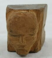 VINTAGE Hand Carved Hard Wood Figural Face/Head of a Man