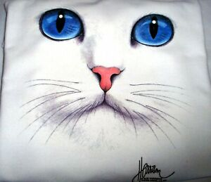 """Cat Face - Blue Eyes"" - Gildan (White) Fleece Crew Neck Sweatshirt"