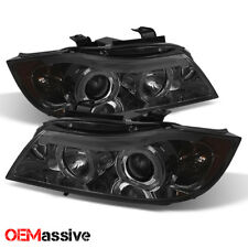 Fits 2006-2008 BMW E90 3-Series Sedan Smoked Halo LED Projector Headlights Pair