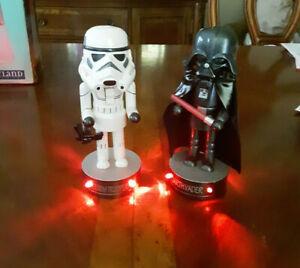 "Star Wars Stormtrooper & Dart Vader Hand Painted Nutcracker - Base Lights Up 8"""