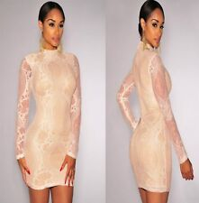 Sz 8 10 Beige Long Sleeve Cocktail Bodycon Evening Prom Party Slim Fit MiniDress