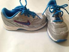 EUC Sz 9 m Nike Silver Aqua Blue Purple Girls Sneakers