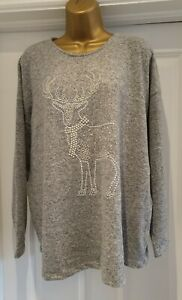 Christmas Jumper Size 18 Grey Reindeer Sparkle Supersoft Knit  Plus Party BNWT