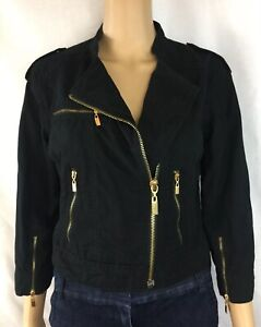 Women's, Kensie,Moto Black Denim Jacket,Gold Zippers pockets,Size Medium