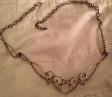 Carolyn Pollack Sterling Sincerely Sculptured Rope & Scroll Necklace + Extender