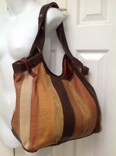 Lucky Brown Stripe Patchwork Leather & Suede Slouch Boho Shoulder Satchel Hobo