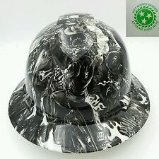 Hard Hat FULL BRIM custom hydro dipped , OSHA approved  DEATH RIDER  !! NEW !