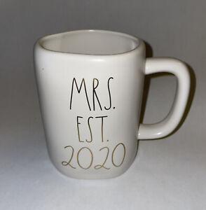 RAE DUNN by Magenta  MRS. EST. 2020 Coffee Tea MUG Gold Lettering