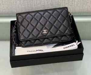 Authentic CHANEL WOC Wallet on Chain CC Logo Black Crossbody Bag