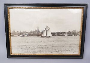 Fine Early 20C Framed Photograph of Schooner Sailboat In NY Harbor Large Scale