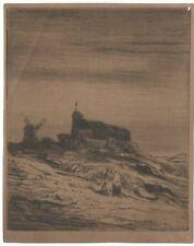 Gravure Charles Jacque, Montmartre, télégraphe Chappe, Paris XIXe Etching 19th
