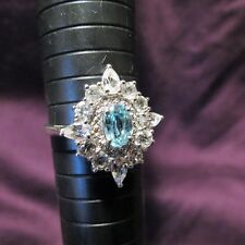 Sterling Silver Blue Zircon Cocktail Ring w/ White Topaz - Mid Century Mod Style