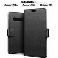 COVER per Samsung Galaxy S10 / S10e / S10 Plus CUSTODIA PORTAFOGLIO PELLE Nero