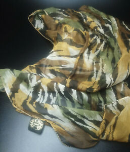 Vintage Yvan & Marzia of Paris Camouflage Patterned Sheer Silk Scarf    A05