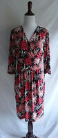 Talbots Petites 8 Black Pink White Firework Burst Jersey Stretch Surplice Dress