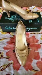 Vintage Salvatore Ferragamo Women's Shoes Beige Pumps 9.5 AA with Box